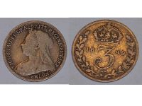 Great Britain 3pence three 3 pence 1899 Coin Queen Victoria British Empire United Kingdom Bill Currency