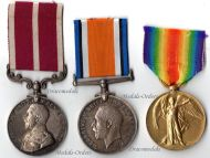 Britain WW1 Victory Interallied Meritorious Service George V Military Medals set Trio Corporal RASC British Royal Army Service Corps