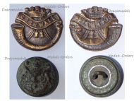 Great Britain WWI Duke of Cornwall's Light Infantry Regiment Collar Badge & British Army Button
