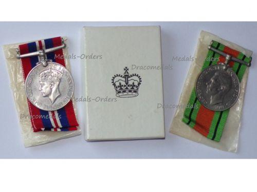 Britain WWII British Set of 2 Medals (Defence Medal & War Medal 1939 1945) Boxed