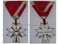 Croatia WWII Order Crown King Zvonimir Cross 3rd Class with Swords for Combatants by Braca Knaus