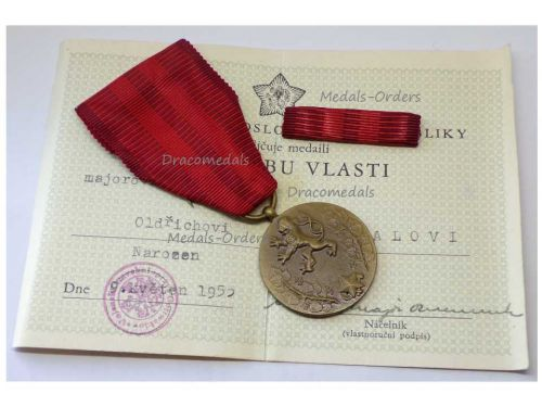 Czechoslovakia Homeland Service Military Medal Decoration CSR Czech Award with Ribbon Bar Diploma to Major Dated 1955