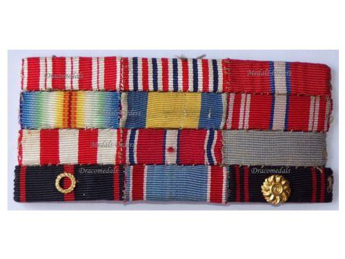 Czechoslovakia WWI WWII Ribbon Bar of 12 Medals ( WW1, WW2 War Cross, Revolution Cross, Victory Medal, etc)