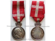 Denmark Silver Royal Medal of Recompense With Crown King Christian X Signed by Lindahl and Thomsen
