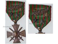 France WWI War Cross 1914 1916 with 4 Citations Palms 3 Stars (1 Bronze 2 Silver)