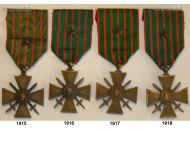 France Set of 4 WWI War Crosses 1914 1915 1916 1917 1918