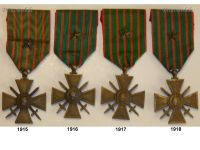 France Set of 4 WWI War Crosses 1914 1915 1916 1917 1918