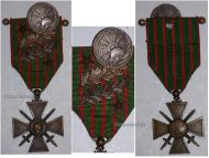 France WW1 Medal War Cross Croix Guerre 1914 1916 palms stars Haute  Bugey pin Decoration French Great War