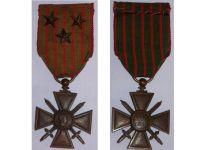 France WWI War Cross 1914 1916 with 3 Citations 3 Stars (Bronze)