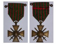 France WWI War Cross 1914 1916 with 3 Citations 3 Stars (2 Bronze 1 Silver) & Officer's Bar
