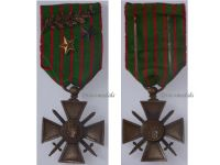France WWI War Cross 1914 1916 with 3 Citations Palms 2 Stars (1 Bronze 1 Silver)