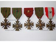 France Set of 5 WWI War Crosses 1914 1915 1916 1917 1918 TOE