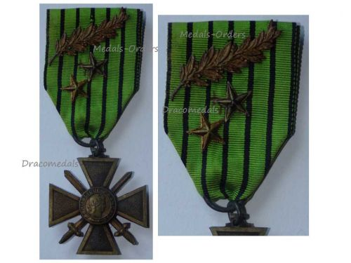 France WWII War Cross Croix de Guerre Vichy 1939 1940 LONDON type Palms 2 Stars Military Medal WW2 French Decoration Merit Award
