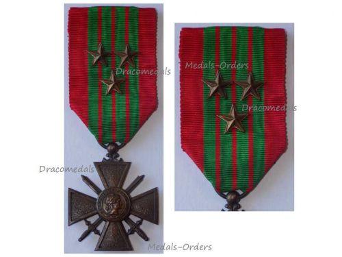 France WWII War Cross Croix de Guerre 1939 3 Stars Military Medal WW2 1945 French Decoration Award Paris Mint
