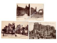 France WW1 3 Postcards Belgium Yser Saint Quentin Bombed Destroyed City Photo 1914 1918 Great War WWI