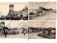 France WW1 4 Field Post Postcards Destroyed  City Revigny Meuse French Photo 1914 1918 Great War WWI