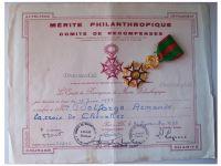 France Philanthropic Merit Knight's Cross with Diploma 1973