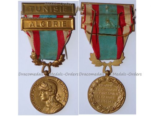 France North Africa Medal for Security and Order Operations with Clasps Tunisia Algeria 2nd Type