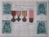 France WW1 Victory Interallied Morlon War Cross Military Medals Set WWI 1914 1918 French Decoration Diploma