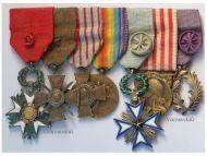 France WW1 Officer Legion Honor Black Star Benin Victory Charles Academic Palms 7 Medals set War Cross 1914