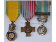 France  WW2 Valor Discipline Cross Combatants Colonial Far East Military Medals set French Decorations 1945 1965