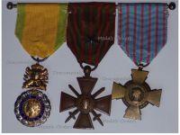 France WWI Set of 3 Medals (Valor & Discipline Medal, War Cross 1914 1918 with Silver Star & Combatants Cross)