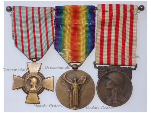 France WWI Set of 3 Medals (Victory Interallied Medal by Morlon, WWI Commemorative Medal by Janvier-Berchot & Combatants Cross)