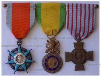 France WWII Set of 3 Medals (Order of Social Merit Knight's Star, Valor & Discipline Medal & Combatants Cross)