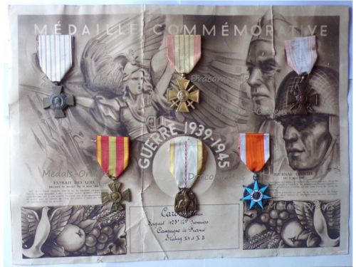 France WWII Set of 6 Medals with Diploma to Sergeant of the 423rd Pioneer Regiment PoW at STALAG XA & STALAG XB