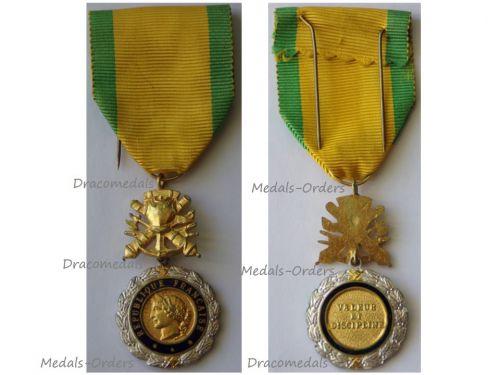 France Military Medal Valor Discipline 9th type 5th Republic 1961