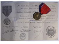 France WWI Verdun Medal 1916 by Vernier Marked by the Paris Mint with Monolingual Diploma to an NCO of the 10th Territorial Infantry Regiment