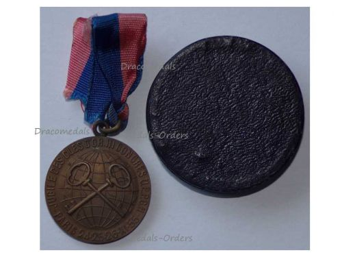 France Golden Keys Medal Clefs d'Ore III Congress Paris 1955 Decoration French Association Hotel Concierges Cased