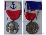 France Merchant Navy Medal 3rd Type in Silver by Paris Mint Named to J. Kerebel 1963