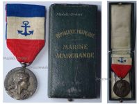 France Mercantile Merchant Marine Navy Medal WW1 1910 French Decoration NAMED to LEVERN G-M Boxed