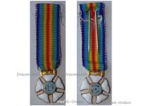France WWI Great War Combatants Mutuality Cross Merit Military Medal Pour Le Merite 1914 1918 French Decoration MINI