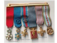 France WWII Set of 6 Medals of the French Air Force (Orders of the Legion of Honor, Nation Order of Merit, Military Merit, Aeronautical Medal) MINI
