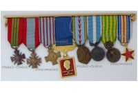 France WWII Aeronautical Medal War Cross 1939 1945 TOE Combatants Colonial Indochina Wound Commemorative 8 French  Air Force Military Medals Set MINI