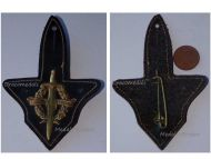 France Military Readiness Badge on Leather Fob French Army Maker Drago Paris 1950s