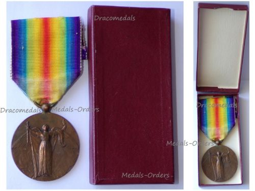 France WWI Victory Interallied Medal by Charles Laslo Unofficial Type 1 Boxed
