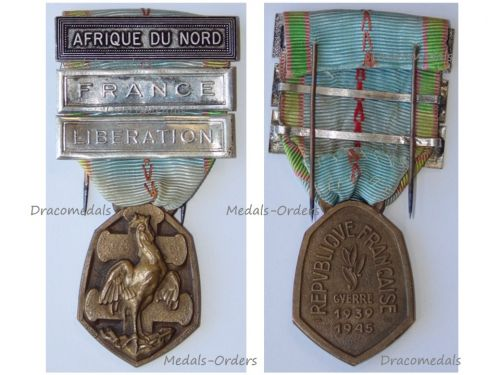 France WWII Commemorative Military Medal bar clasp Liberation North Africa French Decoration Award WW2 1939 1940 1945