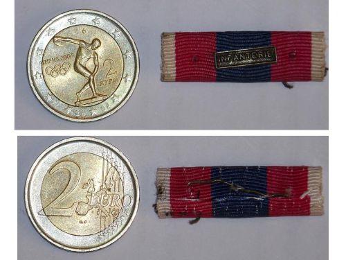 France National Defence Silver Military Medal ribbon bar Infantry French  Decoration Award