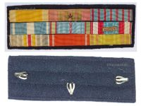 France WWII Ribbon Bar of 9 Medals (Orders Nichan Iftikhar & Ouissam Alaouite, Valor & Discipline, Colonial, Wound & North Africa Medals, War & Combatants Cross)