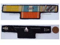France WWII Ribbon Bar 5 Medals (Valor Discipline, Colonial with Bar Sahara, WWII Commemorative with 3 Bars, Morocco Order Ouissam Alaouite)