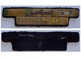 France WW2 Valor Discipline Combatants Cross Colonial Indochina Commemorative Medal Ribbon Bar 2 bars Africa