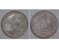 Germany 3 Mark Coin 1914 A Prussia German Empire Kaiser Wilhelm II Berlin Mint