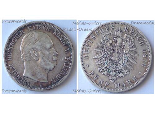 Germany Prussia 5 Mark 1876 A Silver Coin Kaiser Wilhelm I Berlin Mint