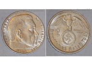 Nazi Germany 2 Mark Coin 1937 F Swastika WWII German Paul Von Hindenburg 3rd Third Reich WW2