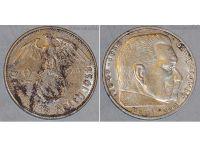 Nazi Germany 2 Mark Coin 1938 F Swastika WWII German Paul Von Hindenburg 3rd Third Reich WW2