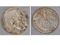Nazi Germany 2 Mark Coin 1938 G Swastika WWII German Paul Von Hindenburg 3rd Third Reich WW2