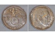 Nazi Germany 2 Mark Coin 1939 G Swastika WWII German Paul Von Hindenburg 3rd Third Reich WW2